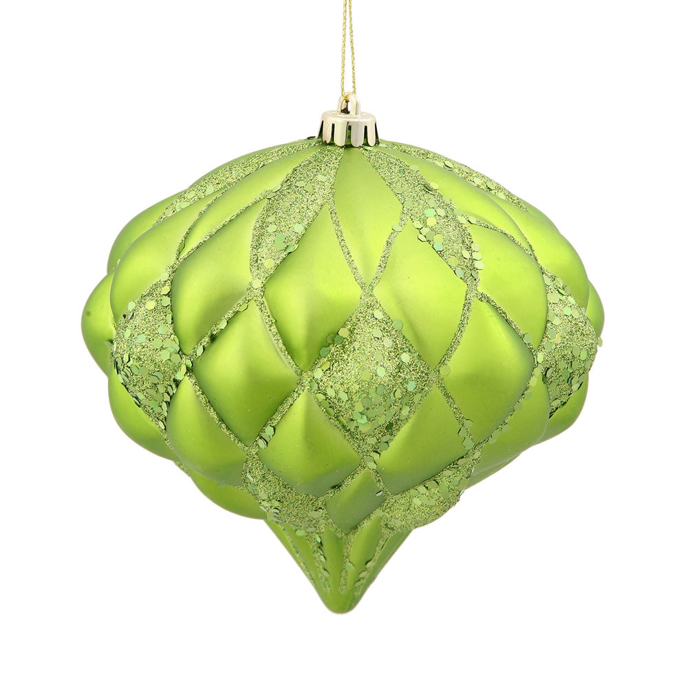 5.7'' Lime Matte-Glitter Diamond Ornament