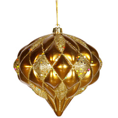 Vickerman 5.7 in. Antique Gold Matte Glitter Onion Christmas Ornament