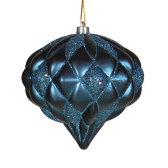 "5.7"" Sea Blue Matte-Glitter Diamond Ornament"