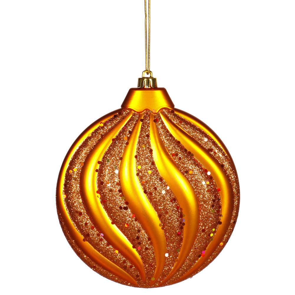 "6"" BurnishOrange Matte-Glit Swirl Flat Ball Ornament"