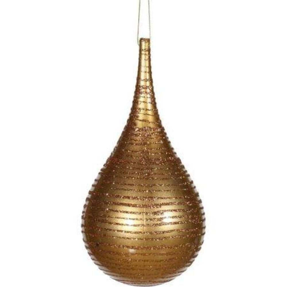 "4"" Sand Gold Matte Glitter Onion Shatterproof Christmas Ornament"