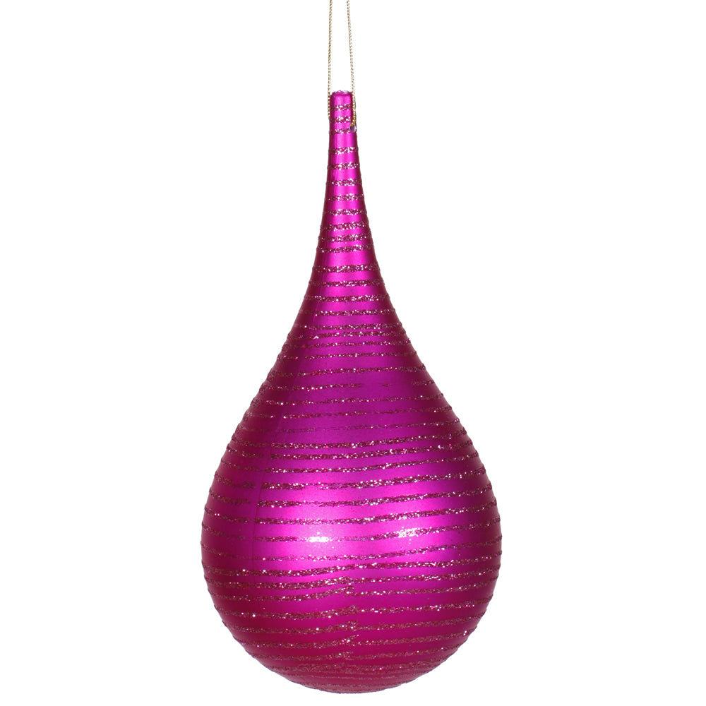 "4"" Cerise Matte-Glitter Onion Drop Ornament"