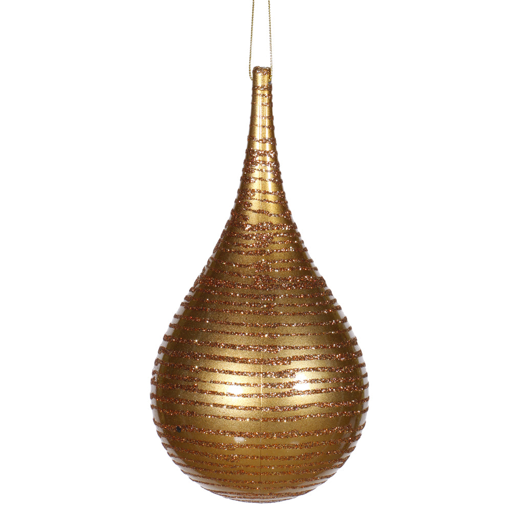"4"" Antique Gold Matte-Glitter Onion Drop Ornament"