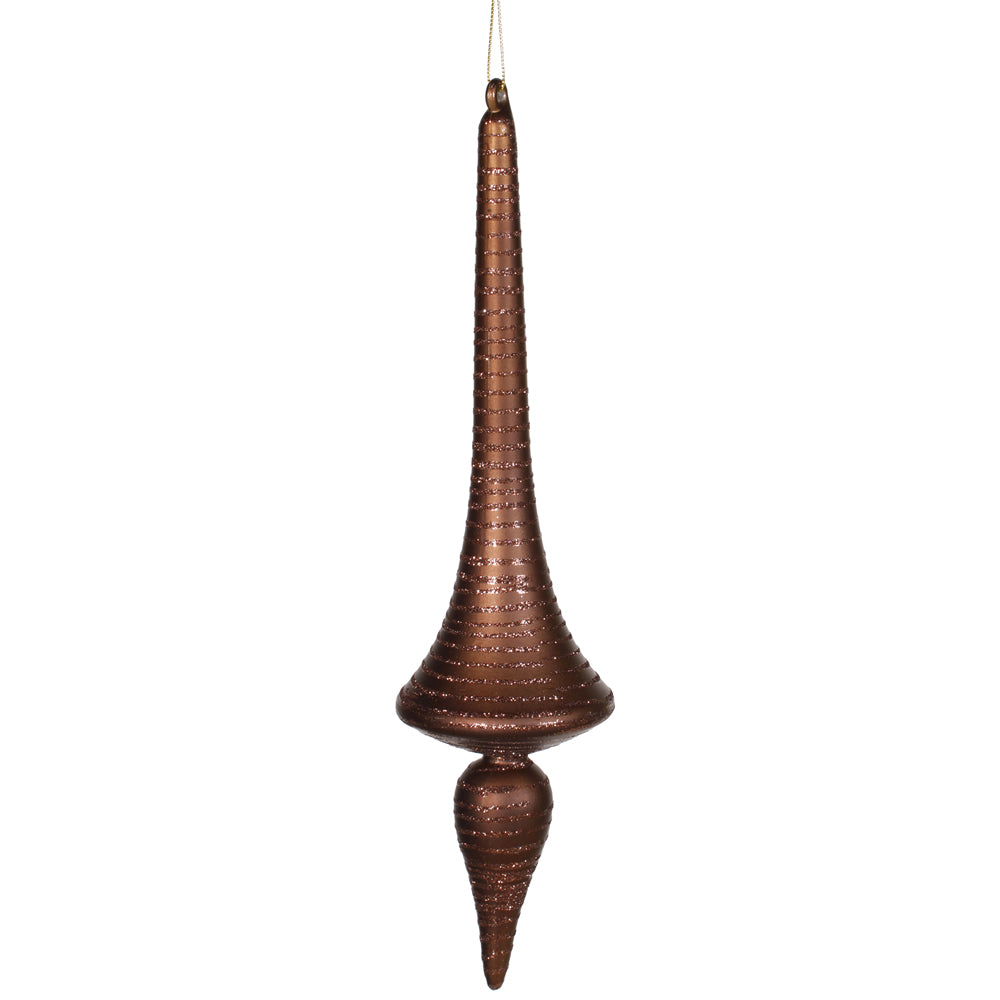 "12"" Chocolate Matte-Glitter Finial Drop"
