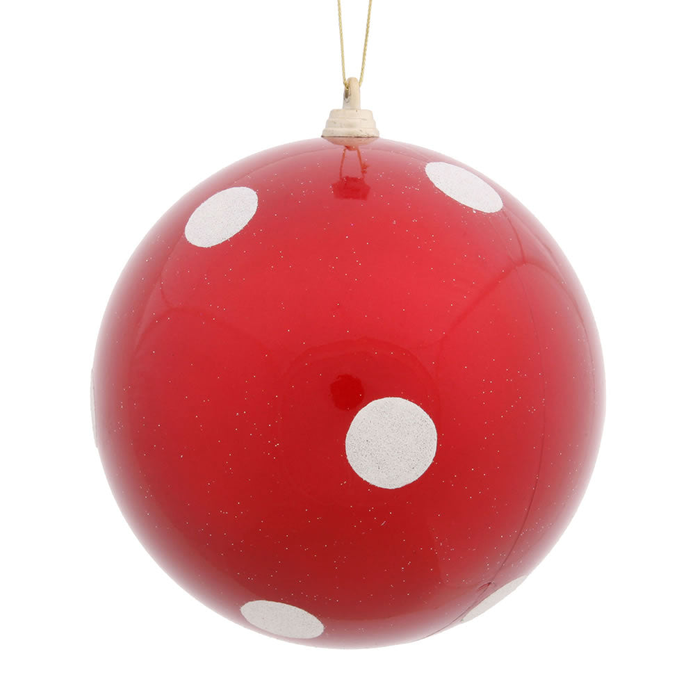 Vickerman 5.5 in. Red Polka Dot Candy Ball Christmas Ornament