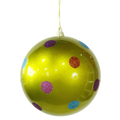 Vickerman 5.5 in. Lime Polka Dot Candy Ball Christmas Ornament