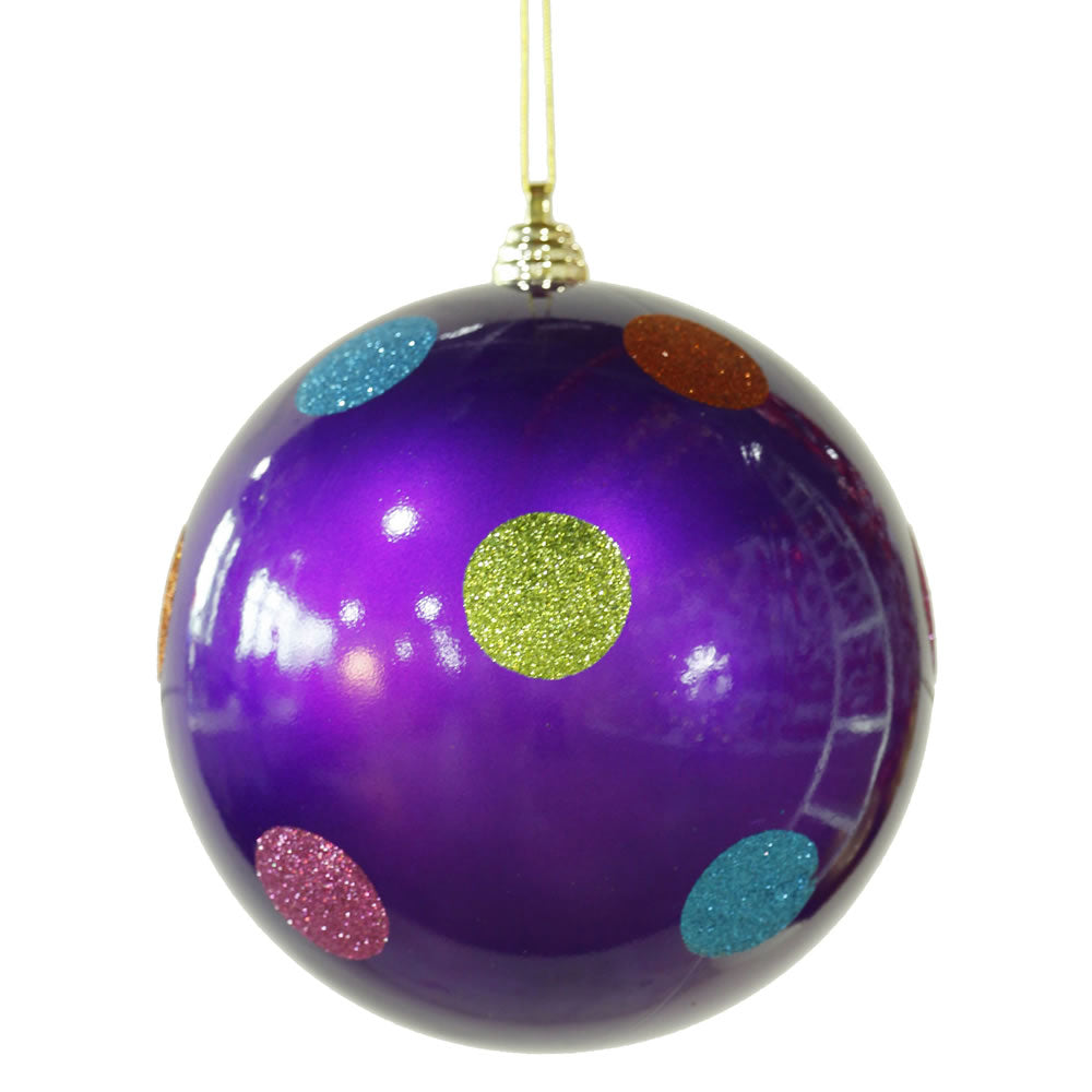 Vickerman 8 in. Purple Polka Dot Candy Ball Christmas Ornament
