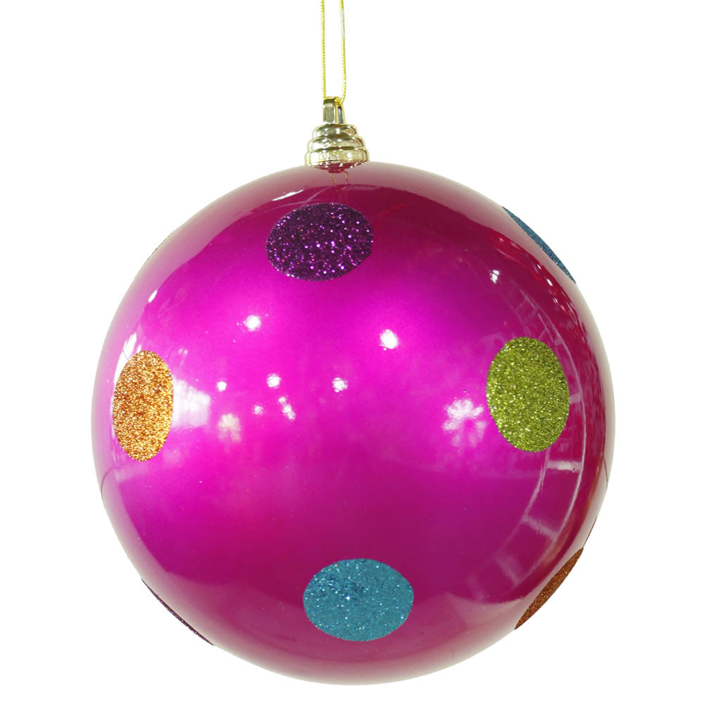 Vickerman 8 in. Pink Polka Dot Candy Ball Christmas Ornament