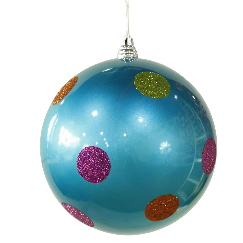 Vickerman 8 in. Turquoise Polka Dot Candy Ball Christmas Ornament