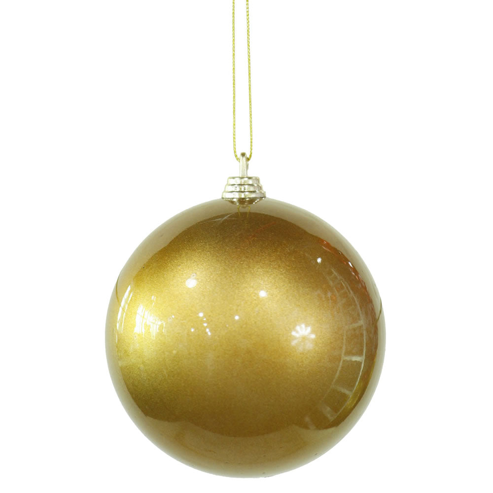 "4"" Antique Gold Candy Finish Ball Ornament 4/Bx"