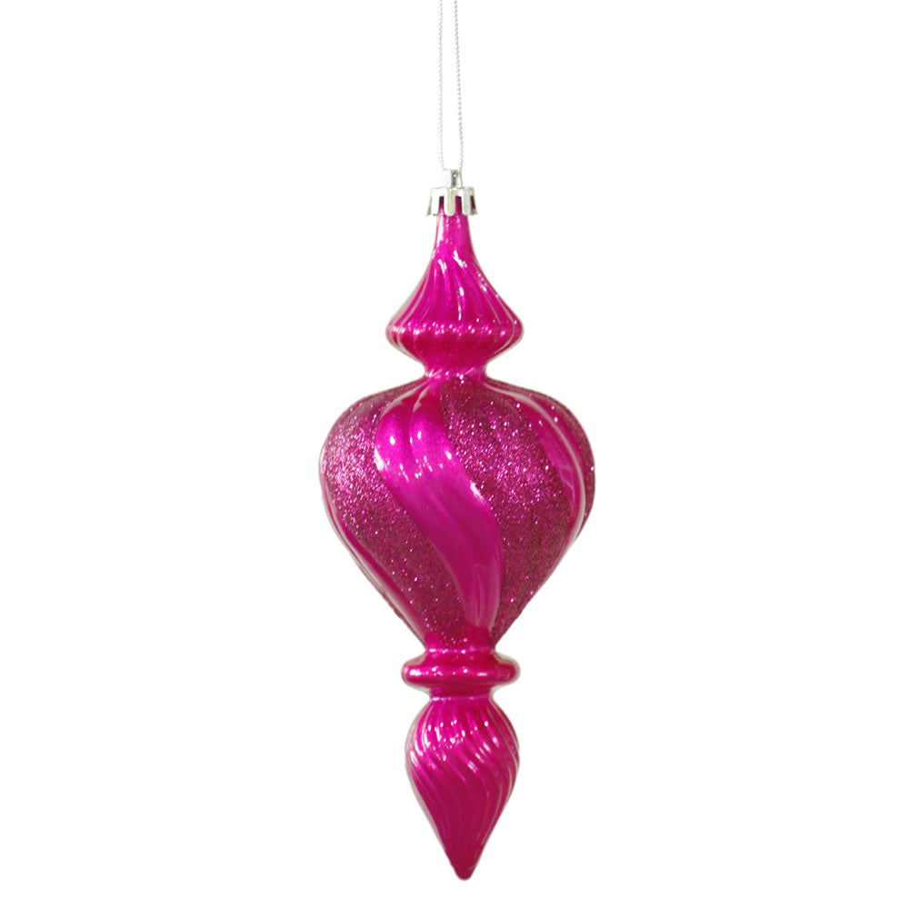 "7"" Cerise Candy Finish Finial Ornament 3/Bx"