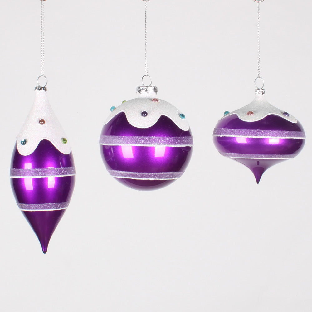 4-7'' Candy Purple Jewel Asst Ornament 3/Box