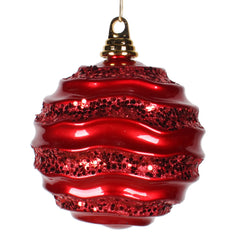 Vickerman 6 in. Red Candy Glitter Ball Christmas Ornament