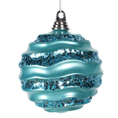 Vickerman 6 in. Turquoise Candy Glitter Ball Christmas Ornament
