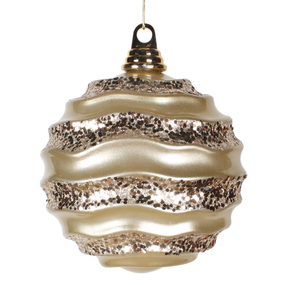 Vickerman 6 in. Champagne Candy Glitter Ball Christmas Ornament