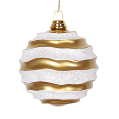 Vickerman 6 in. Gold-White Candy Glitter Ball Christmas Ornament