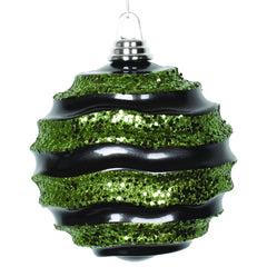 Vickerman 6 in. Black-Lime Candy Glitter Ball Christmas Ornament