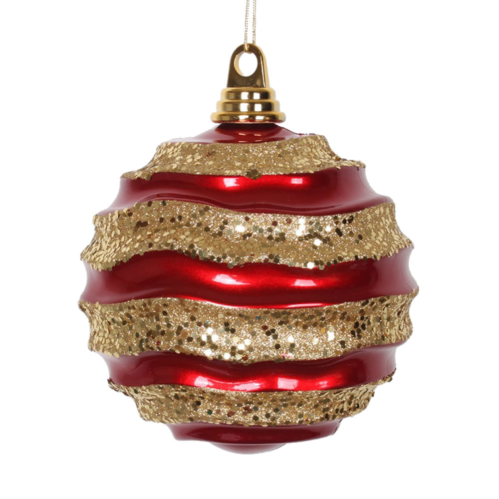 Vickerman 6 in. Red-Gold Candy Glitter Ball Christmas Ornament