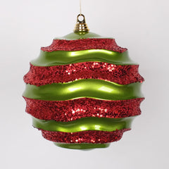 "10"" Lime-Red Candy Glitter Wave Ball"