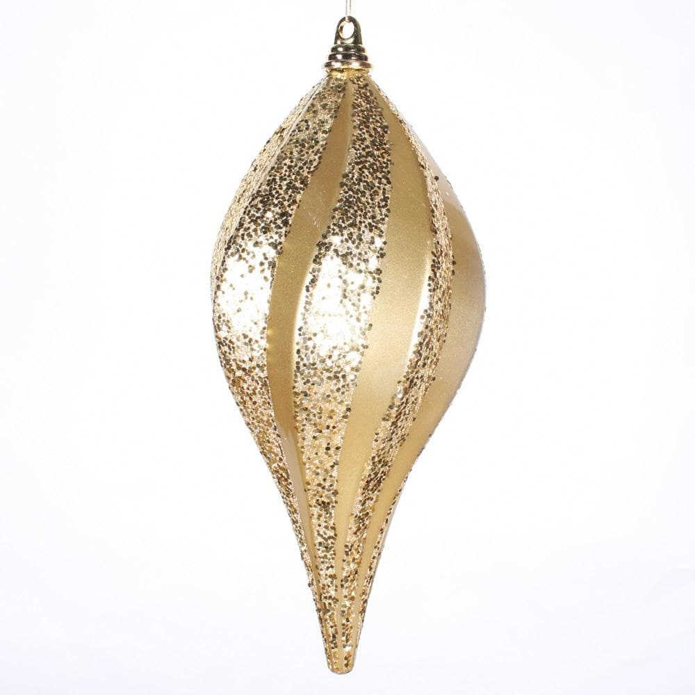 8'' Gold Candy Glitter Swirl Drop Ornament