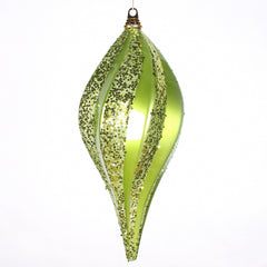 2Pk. Vickerman 8 in. Lime swirl Candy Glitter Drop Christmas Ornament