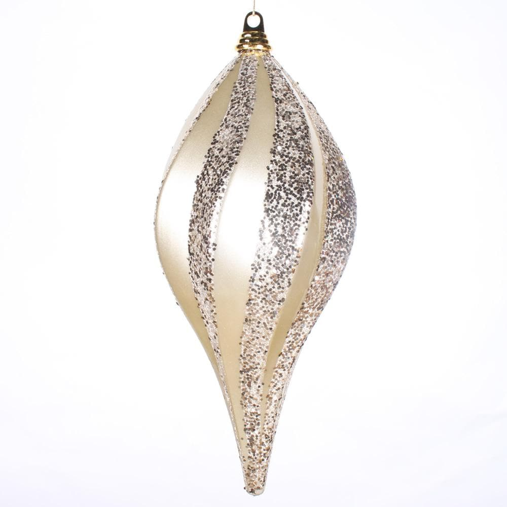 8'' Champagne Candy Glitter Swirl Drop Ornament