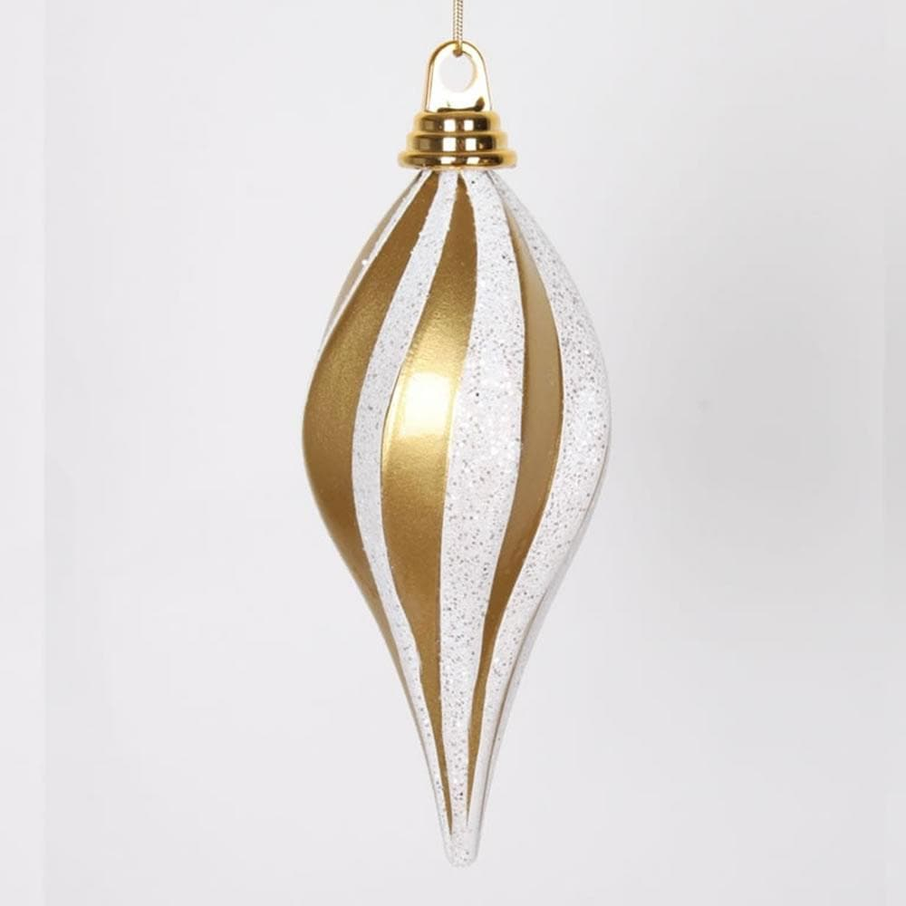 "8"" Gold-Silver Candy Glitter Swirl Drop Ornament"