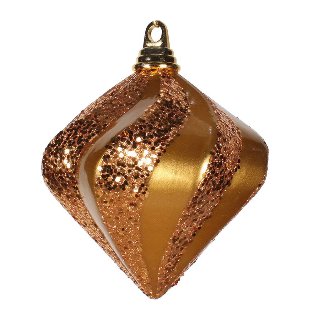 Vickerman 6 in. Antique Gold swirl Candy Glitter Diamond Christmas Ornament