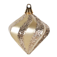 Vickerman 6 in. Champagne swirl Candy Glitter Diamond Christmas Ornament