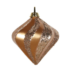 6'' Sand Gold Candy Glitter Swirl Diamond Shatterproof Ornament
