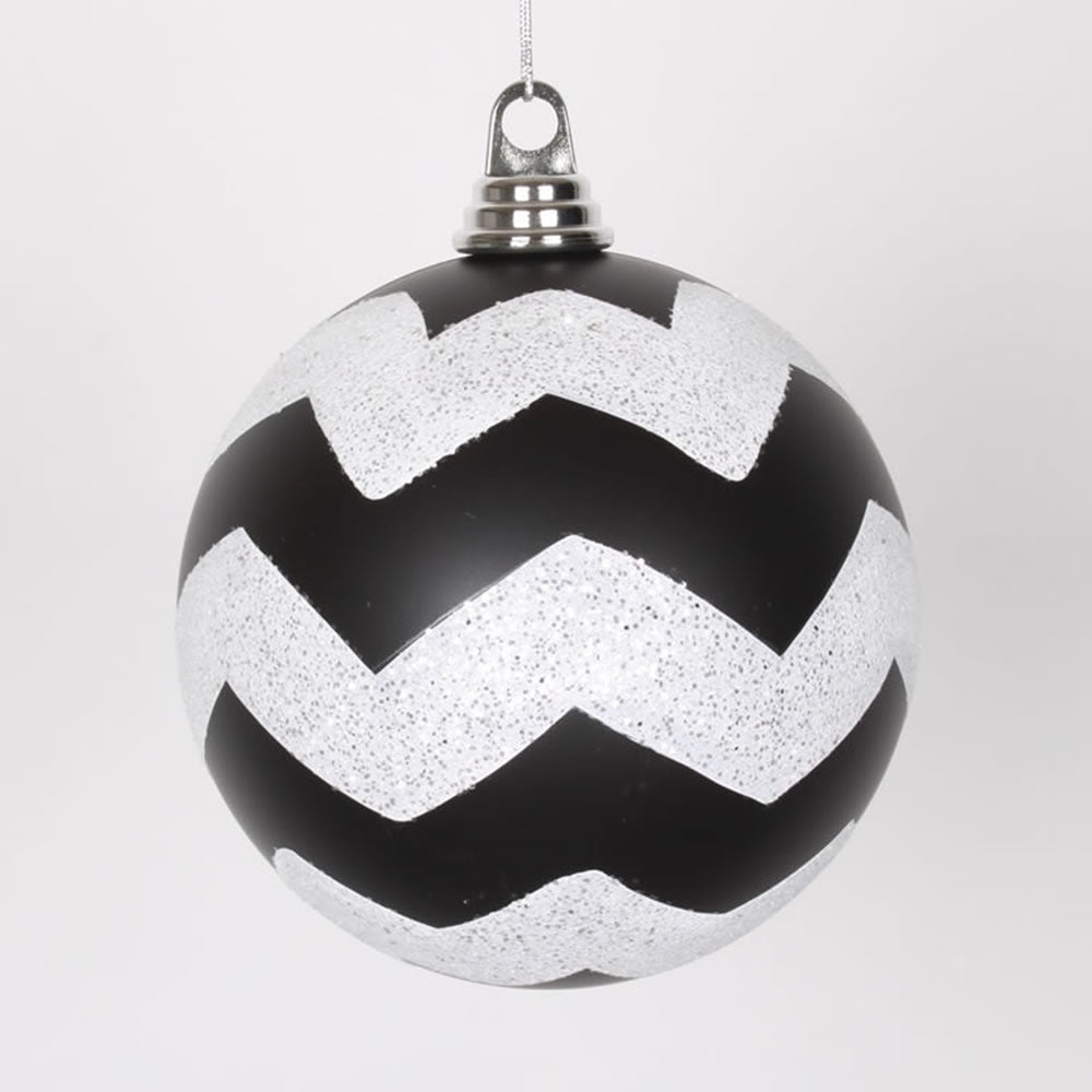 Vickerman 6 in. Black-White Matte Glitter Chevron Ball Christmas Ornament