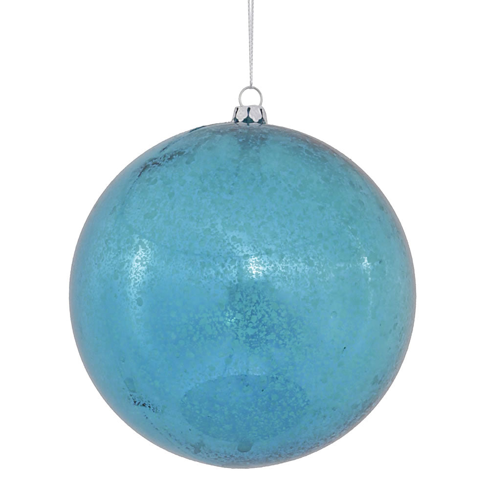 "4PK - 4.75"" Turquoise Shiny Mercury Ball Christmas Ornaments"