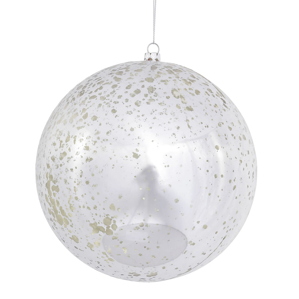 "6"" Silver Shiny Mercury Ball Ornament"