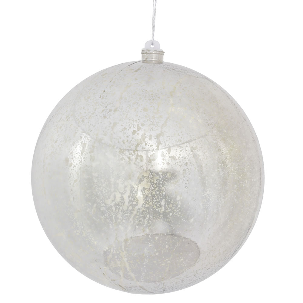 "8"" Silver Shiny Mercury Shatterproof Ball Christmas Ornament"