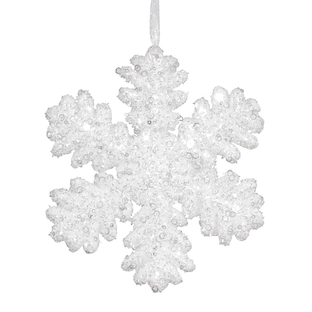 2Pk. Vickerman 9 in. White Glitter Snowflake Christmas Ornament
