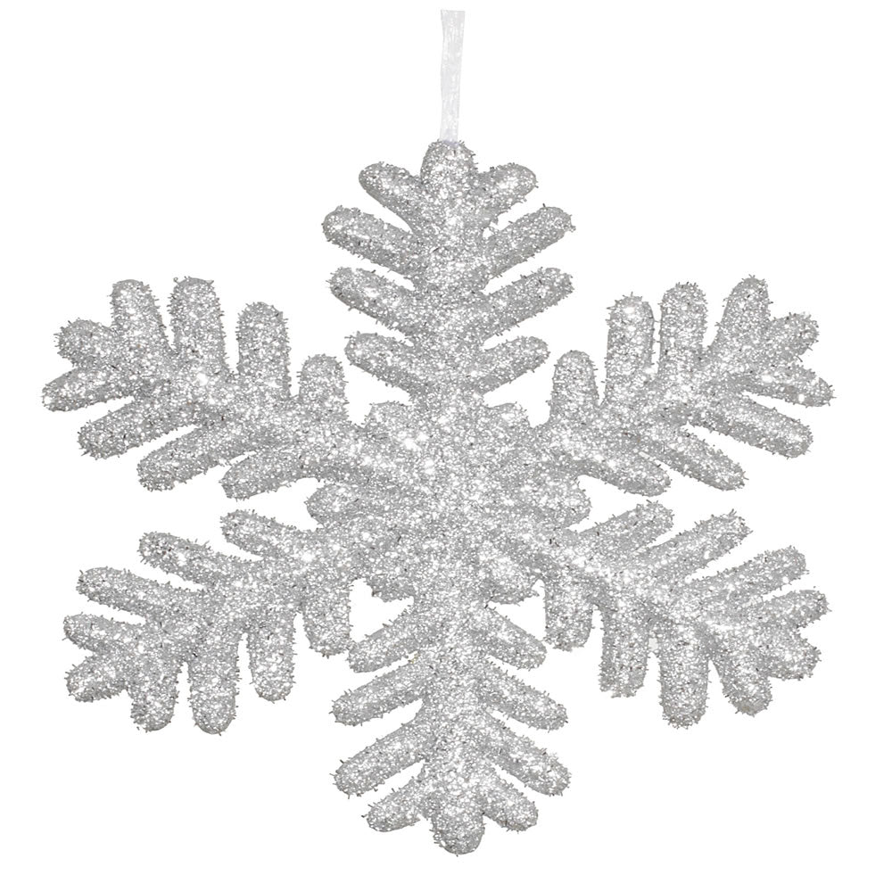 Vickerman 13.75 in. Silver Glitter Snowflake Christmas Ornament