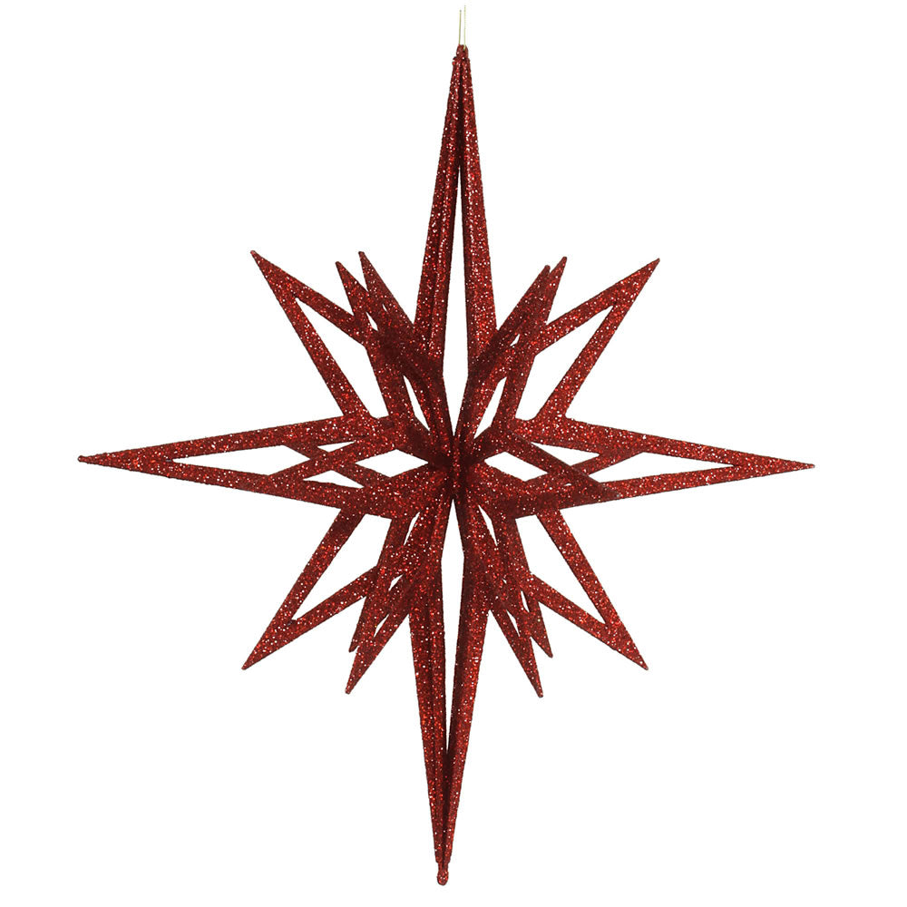 Vickerman 24 in. Red Glitter Star Christmas Ornament