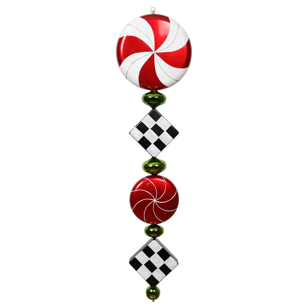 Vickerman 45 in. Red-Lime-Black Finial Christmas Ornament