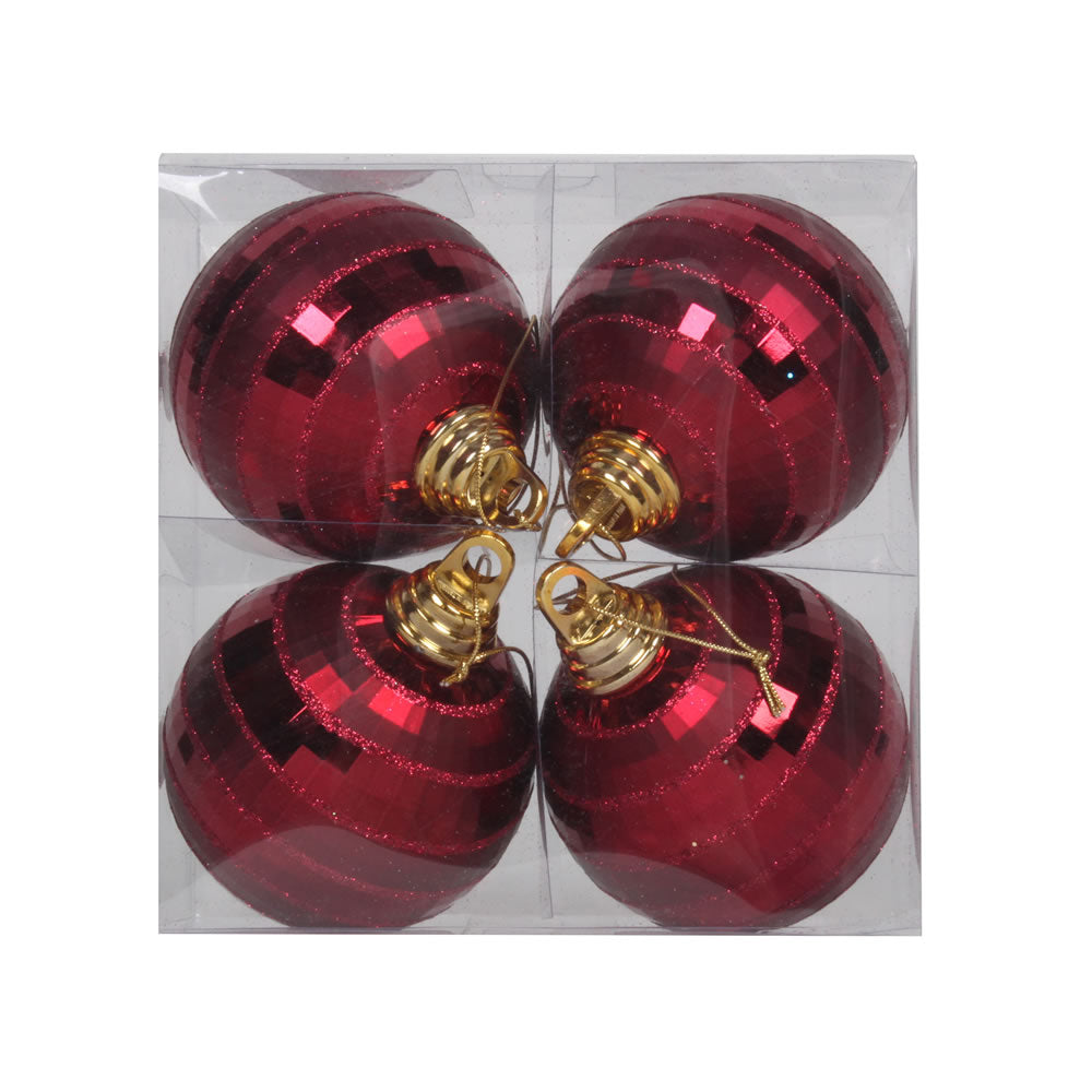 Vickerman 4 in. Burgundy Shiny Matte Ball Christmas Ornament