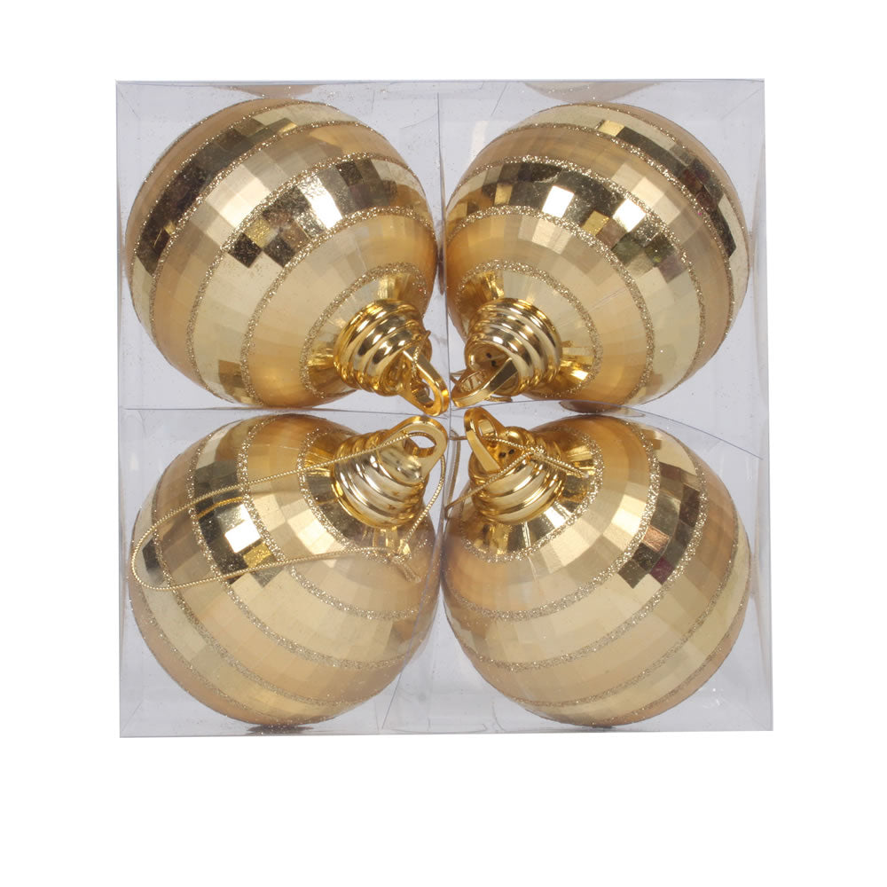 Vickerman 4 in. Gold Shiny Matte Ball Christmas Ornament