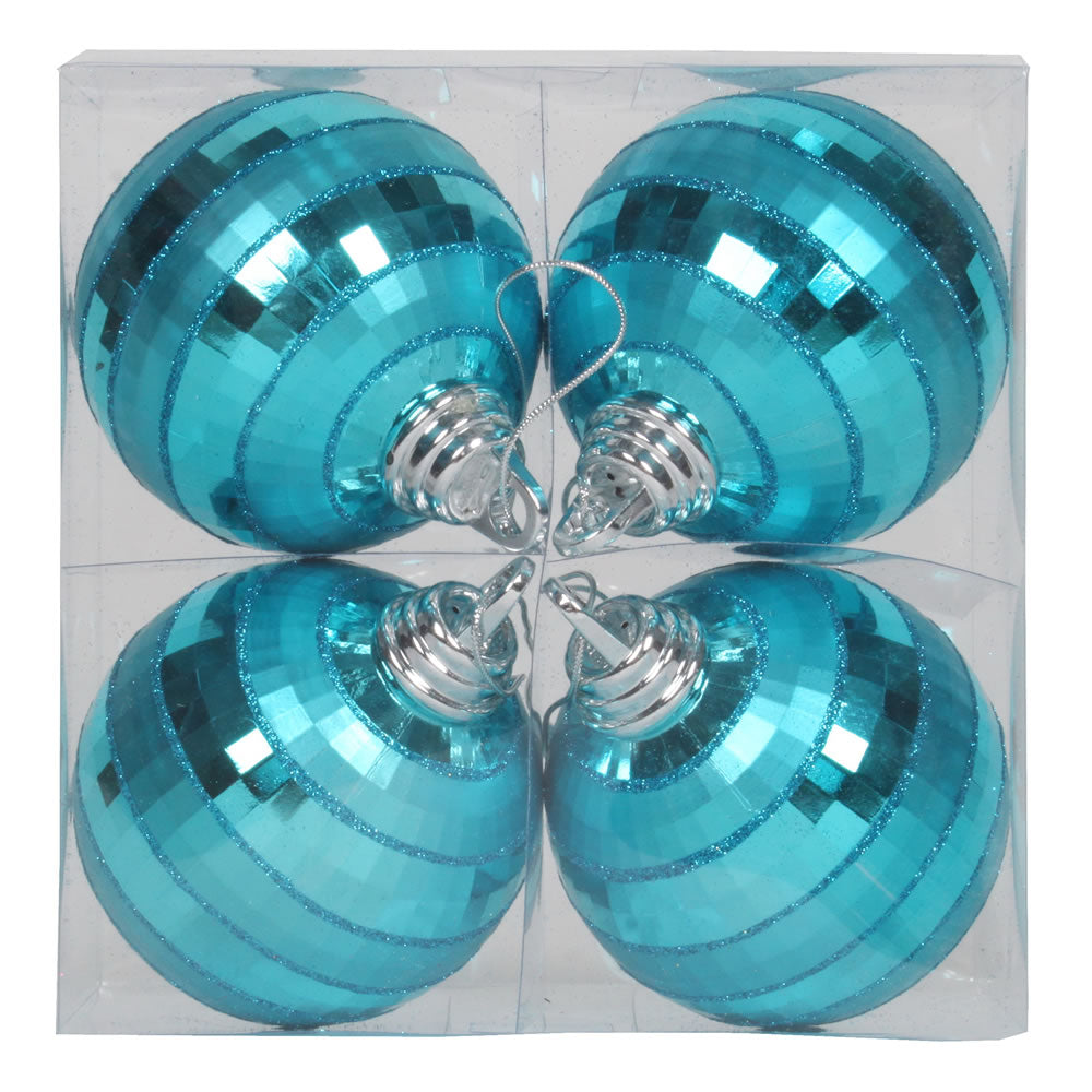 Vickerman 4 in. Turquoise Shiny Ball Christmas Ornament