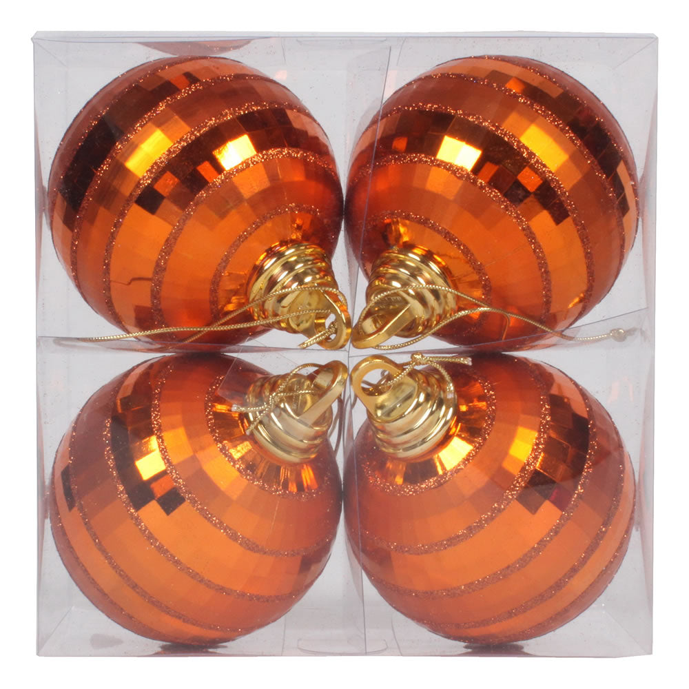 Vickerman 4 in. Burnished Orange Shiny Matte Ball Christmas Ornament