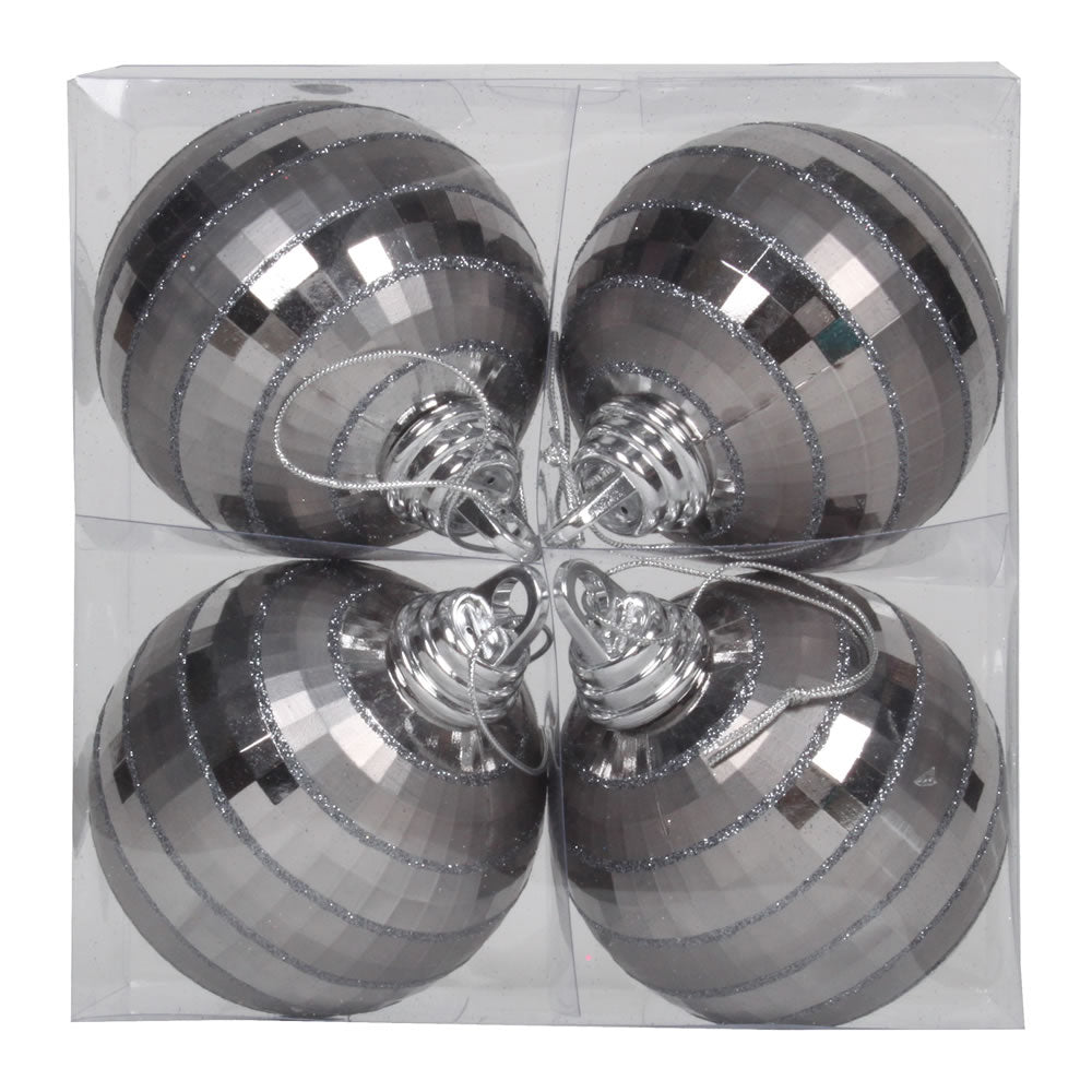 Vickerman 4 in. Pewter Shiny Matte Ball Christmas Ornament