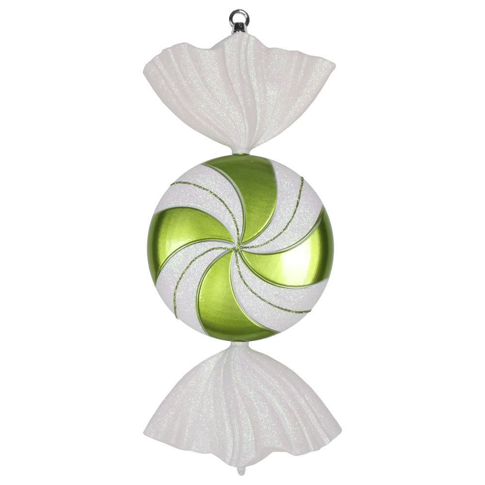 Vickerman 18.5 in. Lime swirl Candy Glitter Candy Christmas Ornament