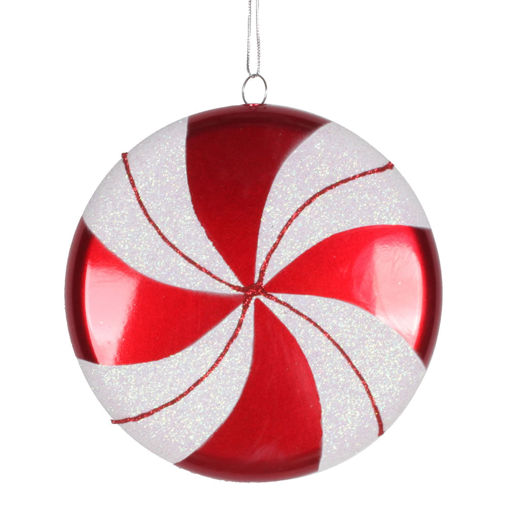 Vickerman 6 in. Red-White swirl Candy Candy Christmas Ornament