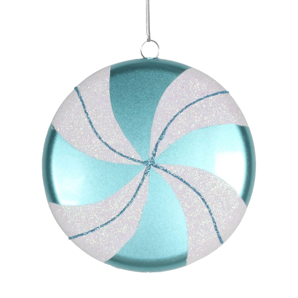Vickerman 6 in. Teal-White swirl Candy Candy Christmas Ornament