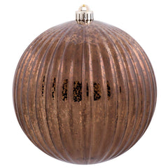 "6PK - 4"" Chocolate Mercury Pumpkin Ball Shatterproof Christmas Ornaments"