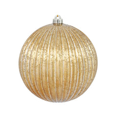 "6PK - 4"" Mocha Mercury Pumpkin Ball Shatterproof Christmas Ornaments"