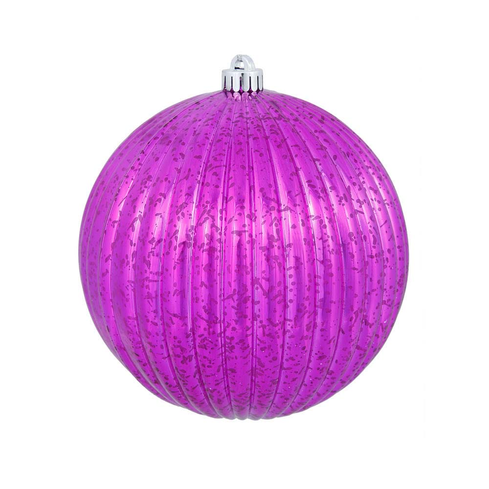 "4PK - 6"" Magenta Mercury Pumpkin Ball Shatterproof Christmas Ornaments"