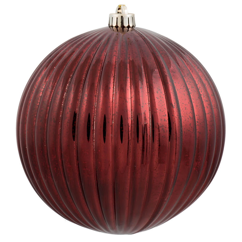 "8"" Burgundy Mercury Pumpkin Ball Shatterproof Christmas Ornament"